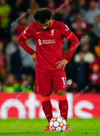 Mohamed Salah of Liverpool with a look of dejection