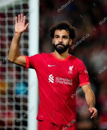 Mohamed Salah of Liverpool waves to the fans