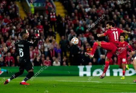 Stock Image of Mohamed Salah of Liverpool scores equalising  2nd goal 2-2