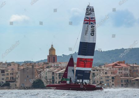 Great Britain SailGP Team helmed by Ben Ainslie in action during a practice session. France SailGP, Event 5, Season 2 in Saint-Tropez, France. 10 September 2021. Photo: Ian Roman for SailGP. Handout image supplied by SailGP