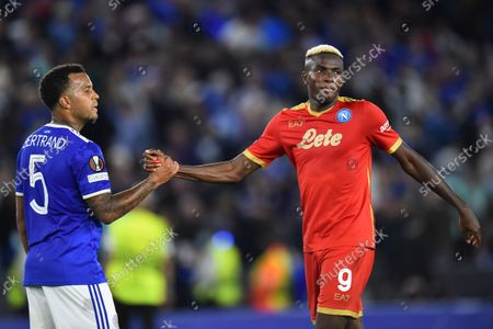Leicester's Ryan Bertrand (L) and Napoli's Victor Osimhen (R) interact after the UEFA Europa League group C soccer match between Leicester City and Napoli in Leicester, Britain, 16 September 2021.