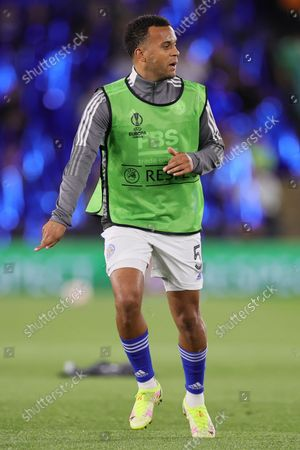 Ryan Bertrand of Leicester City warms up prior to the UEFA Europa League match between Leicester City and SSC Napoli at the King Power Stadium, Leicester on Thursday 16th September 2021.