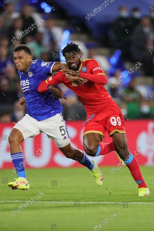 Ryan Bertrand of Leicester City battles with Andre-Frank Zambo Anguissa of SSC Napoli during the UEFA Europa League match between Leicester City and SSC Napoli at the King Power Stadium, Leicester on Thursday 16th September 2021.