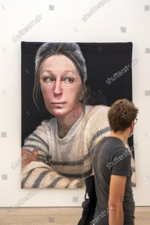 Stock Image of An untitled woven piece of art by US artist Cindy Sherman is on display in the exhibition 'CLOSE-UP' in the Fondation Beyeler in Riehen, Switzerland, 17 September 2021. The exhibition shows works by nine female artists occupying prominent positions within the history of modern art from 1870 to the present day.