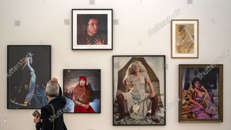 Chromogenic color prints by US artist Cindy Sherman are on display in the exhibition 'CLOSE-UP' in the Fondation Beyeler in Riehen, Switzerland, 17 September 2021. The exhibition shows works by nine female artists occupying prominent positions within the history of modern art from 1870 to the present day.