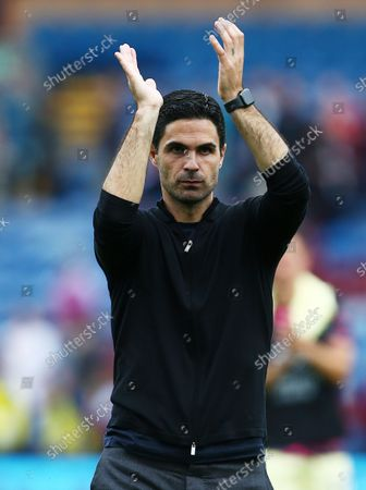 Arsenal manager Mikel Arteta thanks the fans at the end of the game