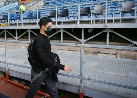 Arsenal manager Mikel Arteta arrives ahead of the game
