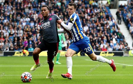 Ryan Bertrand of Leicester City and Solly March of Brighton & Hove Albion.