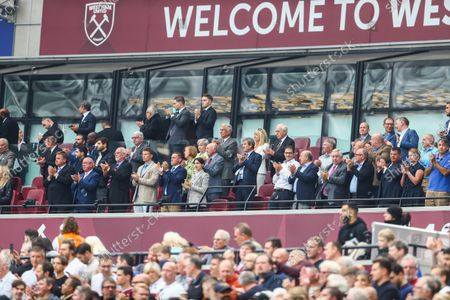 Stock Image of Sir Trevor Brooking amongst the people showing their appreciation for Jimmy Greaves