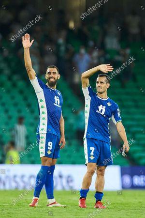 "Stock Image of Borja Iglesias and Juan Miguel ""Juanmi"" Jimenez of Real Betis saludates to the fans"