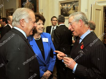 Prince Charles talks to Lord Guthrie and Lady Guthrie