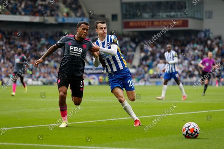 Ryan Bertrand of Leicester City challenges Solly March of Brighton & Hove Albion; American Express Community Stadium, Brighton, East Sussex England; Premier League football Brighton & Hove Albion versus Leicester City.
