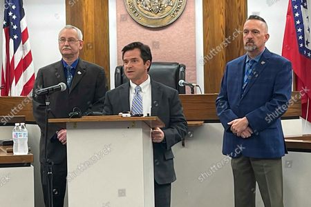 Special Prosecutor Jeff Phillips speaks to reporters at the Pope County Courthouse in Russellville, Ark., on . Phillips charged former Lonoke County sheriff's deputy Michael Davis with manslaughter for fatally shooting white 17-year-old Hunter Brittain during a June 23, 2021 traffic stop