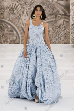 Stock Photo of Model Wears an Outfit as Part of the Ready to Ready to Wear Summer 2022, London, UK, from the House of Paul Costelloe