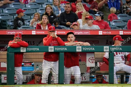 Stock Photo of Los Angeles Angels manager Joe Maddon, center left, and center fielder Mike Trout, center right, stand in the dugout during the first inning of a baseball game against the Oakland Athletics, in Anaheim, Calif