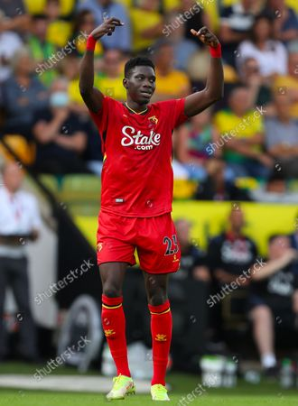 Stock Photo of Ismaila Sarr of Watford celebrates after scoring a goal to make it 3-1 - Norwich City v Watford, Premier League, Carrow Road, Norwich, UK - 18th September 2021Editorial Use Only - DataCo restrictions apply