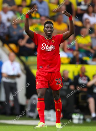 Ismaila Sarr of Watford celebrates after scoring a goal to make it 3-1 - Norwich City v Watford, Premier League, Carrow Road, Norwich, UK - 18th September 2021Editorial Use Only - DataCo restrictions apply