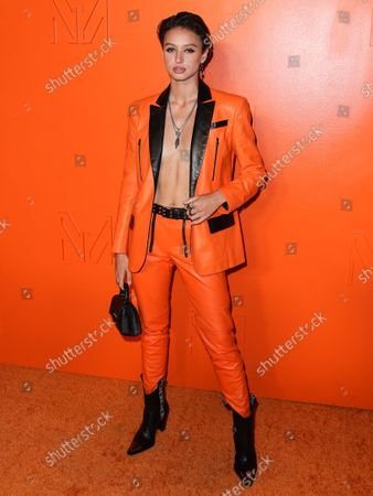 Model Tatiana Ringsby arrives at the MARCELL VON BERLIN Spring/Summer 2021 Runway Fashion Show held at the Sheats-Goldstein Residence on September 16, 2021 in Beverly Hills, Los Angeles, California, United States.