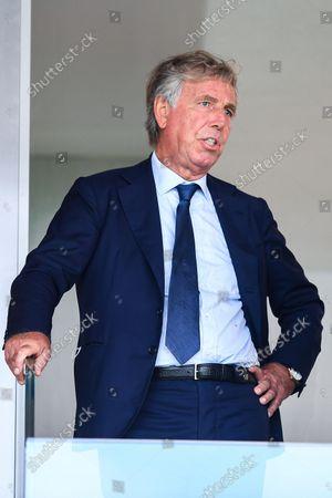 Stock Image of Genoa's Italian chairman Enrico Preziosi reacts in the stands before the Italian Serie A soccer match Genoa Cfc vs Acf Fiorentina at Luigi Ferraris stadium in Genoa, Italy, 18 September 2021.