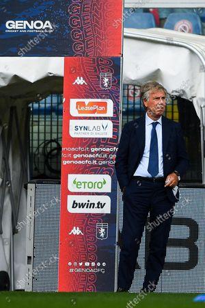 Genoa's Italian chairman Enrico Preziosi reacts  before the Italian Serie A soccer match Genoa Cfc vs Acf Fiorentina at Luigi Ferraris stadium in Genoa, Italy, 18 September 2021.