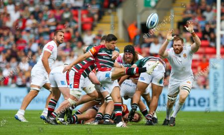 Ben Youngs of Leicester Tigers box kicks
