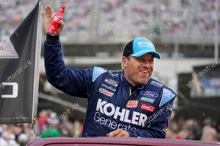 Stock Image of Ryan Newman waves to fans before a NASCAR Cup Series auto race at Bristol Motor Speedway, in Bristol, Tenn