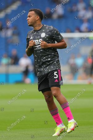Leicester City Defender Ryan Bertrand (5) warm up during the Premier League match between Brighton and Hove Albion and Leicester City at the American Express Community Stadium, Brighton and Hove