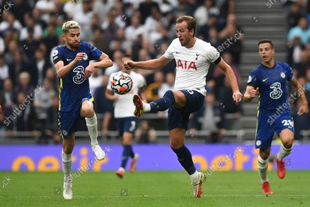 Chelsea's Jorginho (L) in action against Tottenham's Harry Kane (C) during the English Premier League soccer match between Tottenham Hotspur and Chelsea FC in London, Britain, 19 September 2021.