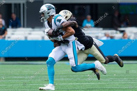 Carolina Panthers wide receiver Brandon Zylstra (16) gets tackled by New Orleans Saints safety Marcus Williams (43) in the fourth quarter of the NFL matchup at Bank of America Stadium in Charlotte, NC