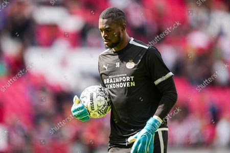 Stock Picture of PSV goalkeeper Yvon Mvogo during the Dutch Eredivisie match between PSV and Feyenoord at Phillips Stadium on September 19, 2021 in Eindhoven, Netherlands.