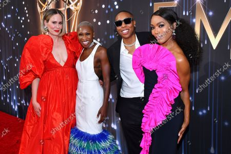 Sarah Paulson, from left, Cynthia Erivo, Lena Waithe and Angela Bassett arrive at the 73rd Emmy Awards at the JW Marriott on at L.A. LIVE in Los Angeles