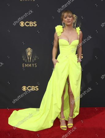 Stock Image of Kaley Cuoco arrives at the 73rd Emmy Awards at the JW Marriott on at L.A. LIVE in Los Angeles