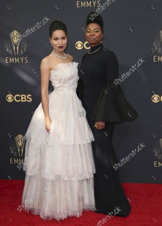 Jurnee Smollett-Bell, left, and Misha Green arrive at the 73rd Emmy Awards at the JW Marriott on at L.A. LIVE in Los Angeles
