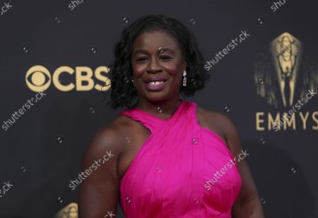 Uzo Aduba arrives at the 73rd Emmy Awards at the JW Marriott on at L.A. LIVE in Los Angeles