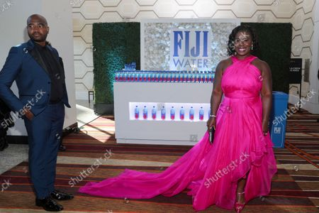 Uzo Aduba arrives at the 73rd Emmy Awards on at L.A. LIVE in Los Angeles