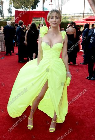 Stock Photo of Kaley Cuoco arrives at the 73rd Emmy Awards at the JW Marriott on at L.A. LIVE in Los Angeles