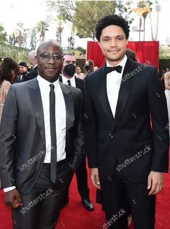 Barry Jenkins and Trevor Noah arrive at the 73rd Emmy Awards at the JW Marriott on at L.A. LIVE in Los Angeles