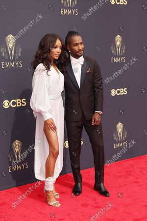 Stock Image of Scott Evans and Zuri Hall arrives on the red carpet for the 73rd Annual Emmy Awards taking place at LA Live on/ Sunday, Sept. 19, 2021 in Los Angeles, CA.