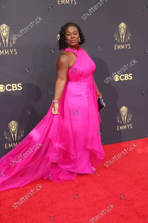 Uzo Aduba arrives on the red carpet for the 73rd Annual Emmy Awards taking place at LA Live on Sunday, Sept. 19, 2021 in Los Angeles, CA.