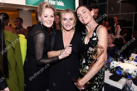 """Jean Smart, from left, Kate Winslet and Julianne Nicholson, winner of the award for outstanding supporting actress in a limited or anthology series or movie for """"Mare of Easttown"""" pose together at the 73rd Emmy Awards on at the Microsoft Theater in Los Angeles"""
