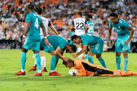 Stock Picture of Thibaut Courtois, Eder Militao, David Alaba and Nacho Fernandez Iglesias of Real Madrid are seen during the Spanish La Liga, football match between Valencia CF and Real Madrid at Mestalla stadium in Valencia. (Final score; Valencia CF 1:2 Real Madrid)