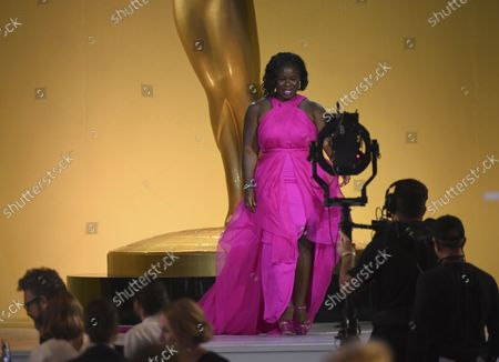 Uzo Aduba presents an in memoriam tribute at the 73rd Emmy Awards on at the Event Deck at L.A. LIVE in Los Angeles