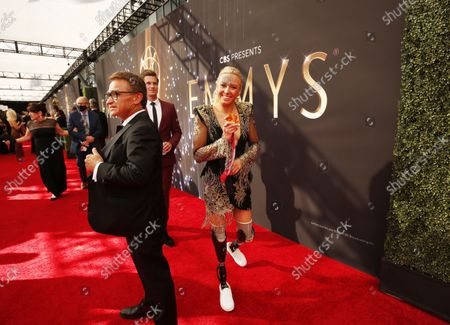 Jessica Long arrives on the red carpet for the 73rd Annual Emmy Awards taking place at LA Live on/ Sunday, Sept. 19, 2021 in Los Angeles, CA. (Al Seib / Los Angeles Times)
