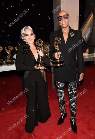 """RuPaul Charles and Michelle Visage, winners of the award for outstanding competition program for """"RuPaul's Drag Race"""" pose for a photo at the 73rd Emmy Awards at the JW Marriott on at L.A. LIVE in Los Angeles"""