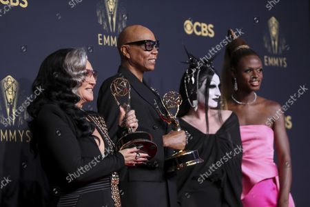 """Michelle Visage, from left, RuPaul Charles, Gottmik, and Symone pose for a photo with the award for outstanding competition program for """"RuPaul's Drag Race"""" at the 73rd Emmy Awards at the JW Marriott on at L.A. LIVE in Los Angeles"""