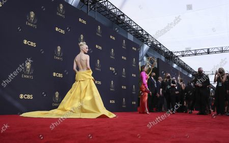 Anya Taylor-Joy poses for a photo with the award for [award name] for [show name] at the 73rd Emmy Awards at the JW Marriott on at L.A. LIVE in Los Angeles