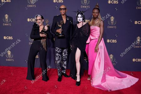 """Michelle Visage, from left, RuPaul Charles, Gottmik, and Symone pose for a photo with the award for outstanding competition program for """"RuPaul's Drag Race"""" at the 73rd Primetime Emmy Awards, at L.A. Live in Los Angeles"""