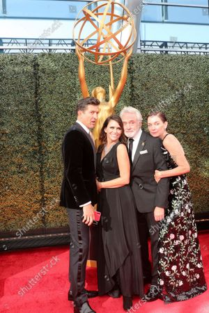 Jonathan Cake, from left, Amy Landecker, Bradley Whitford, and Julianne Nicholson arrive at the 73rd Emmy Awards on at L.A. LIVE in Los Angeles
