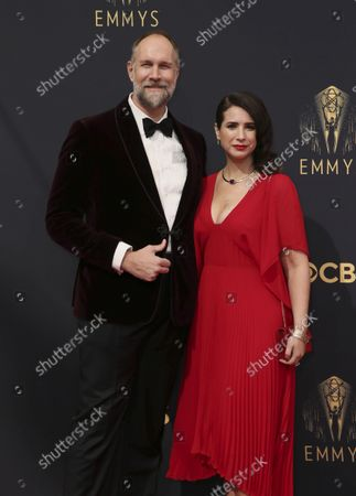 Stock Picture of Craig Zobel, left, and Allison Estrin arrive at the 73rd Emmy Awards at the JW Marriott on at L.A. LIVE in Los Angeles
