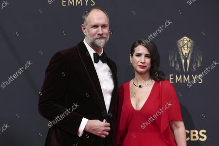 Craig Zobel, left, and Allison Estrin arrive at the 73rd Emmy Awards at the JW Marriott on at L.A. LIVE in Los Angeles
